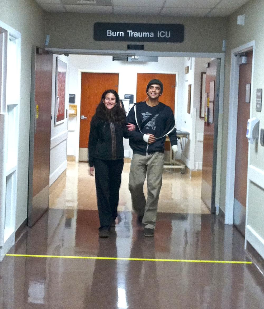 Eduardo and Jenn leaving Burn Trauma ICU