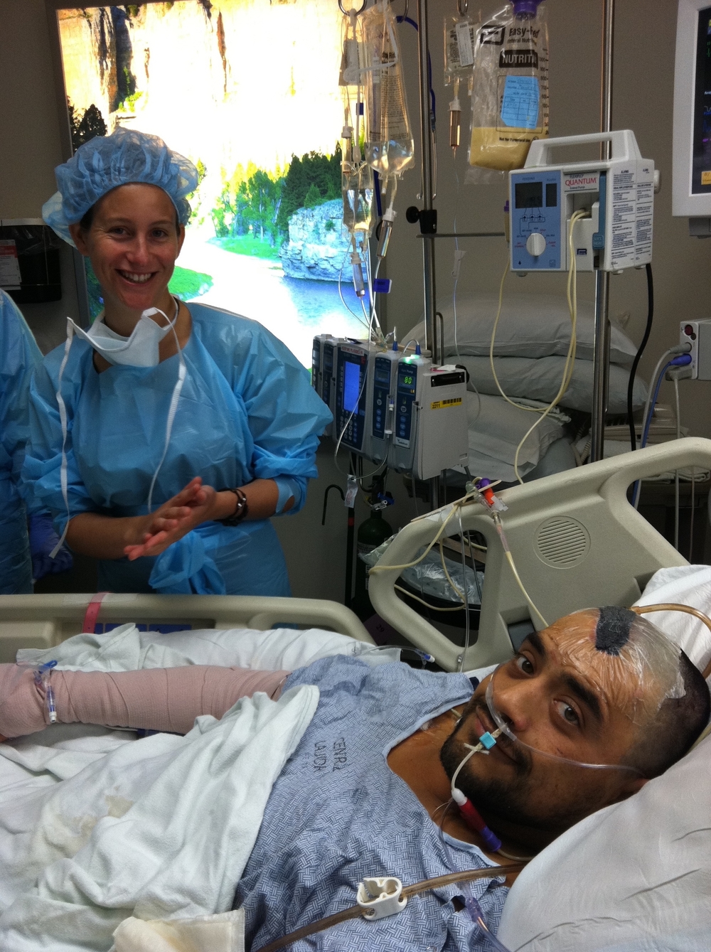 Jenn & Eduardo preparing for wound care