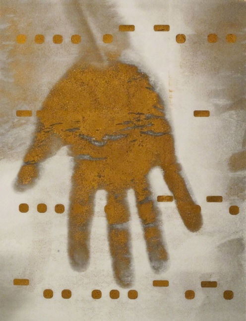 "Hand of the Artist, Right , 9"" x 12"",  Mixed Media with Gold Foil on Mylar, 2012"