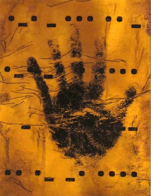 "Hand of the Artist, Right , 9"" x 12"",  Mixed Media with Gold Foil on Paper, 2012"