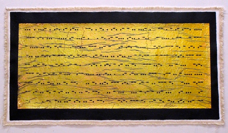 """""""Several Generative Metaphors Have Enabled Them to Think About Art's Contradictory Ability to  Communicate Certain of it's Contents While Also Withholding Information by Maintaining It's Status AsAn Enduring Conundrum : Negative""""                                                                                               Mixed Media with Gold Foil on Canvas, 32"""" x 60"""""""