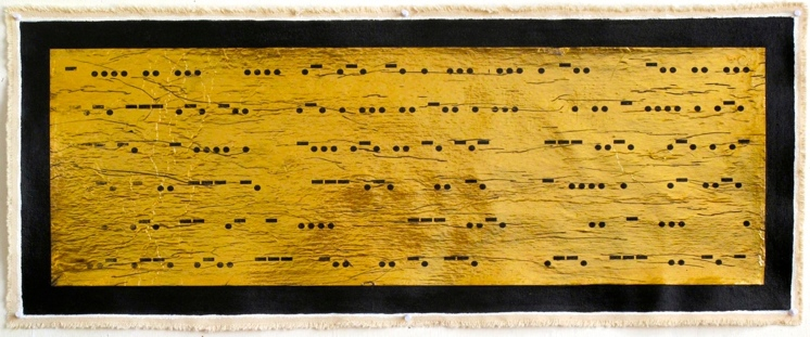 """""""This Harnessed Discord Resides Either on the Brink of Reaction or in the Aftermath of Its Exploding Point: Negative I"""" Mixed Media with Gold Foil on Canvas, 24"""" x 60"""", 2014"""