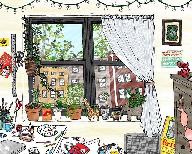 Confession: I couldn't fit all the plants I own into this illustration of my room #sorrynotsorry . . . . . . #illustration #illustratorsofinstagram #sketchbook #penandink #sketchbook #femaleillustrator #womenwhodraw #doodle #collage #mixedmedia #lifestyleillustration #feature_my_stuff #art4small #sendyourbestart #art4share #drawingaday #art #painting #drwingoftheday #paintingoftheday #artoftheday #newyork #artist_features #artnerd2017 #illustration_daily #artistic_discover