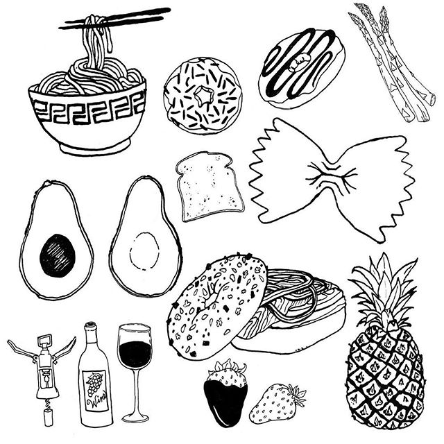Some foodie flash tats for @femfoundry #illustration #flashtattoo #foodtattoo #penandink #blackandwhite
