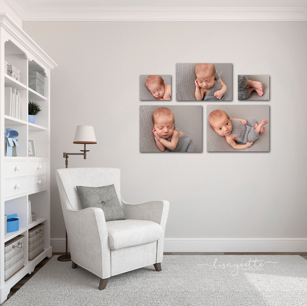 Example of Newborn Wall Portraits from a 5 Image Mini Session
