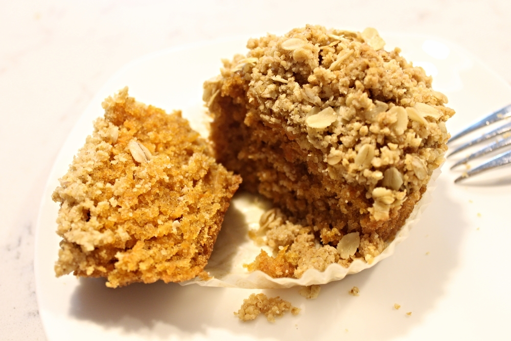 Carrot muffins with oat streusel topping