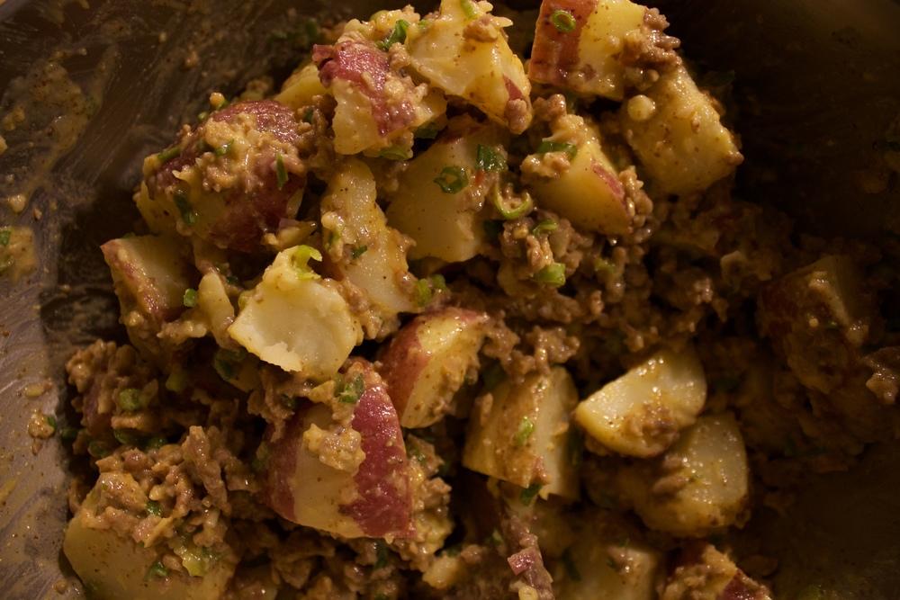 Potato salad with scallions & italian sausage