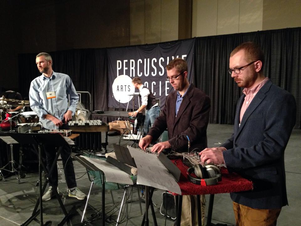 PASIC 2014 Focus Day Evening Concert. Sound checking for Paul Schuette's  Oscillator Etudes.