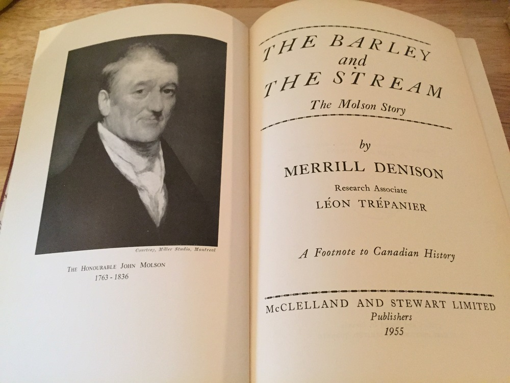 Book - The Barley and the Stream_The Molson Story 1955 inside.JPG
