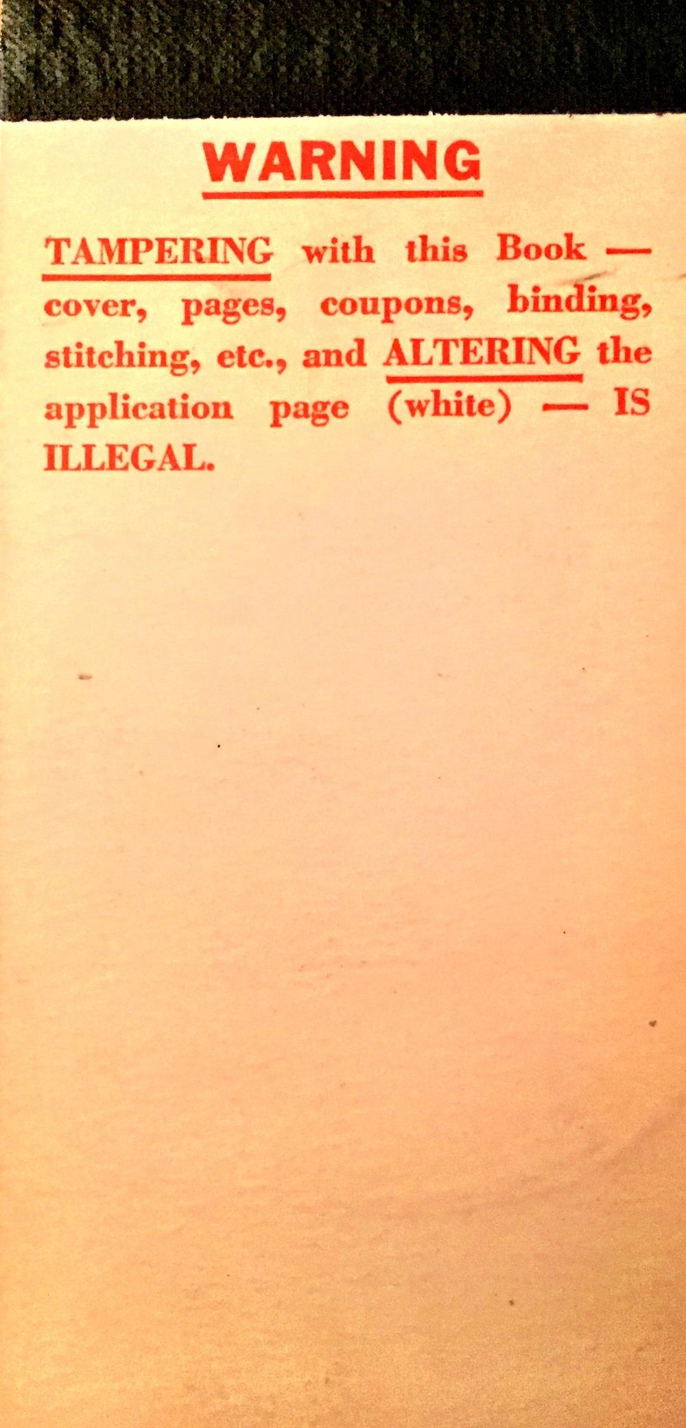LCBO Coupon Book 1946_warning