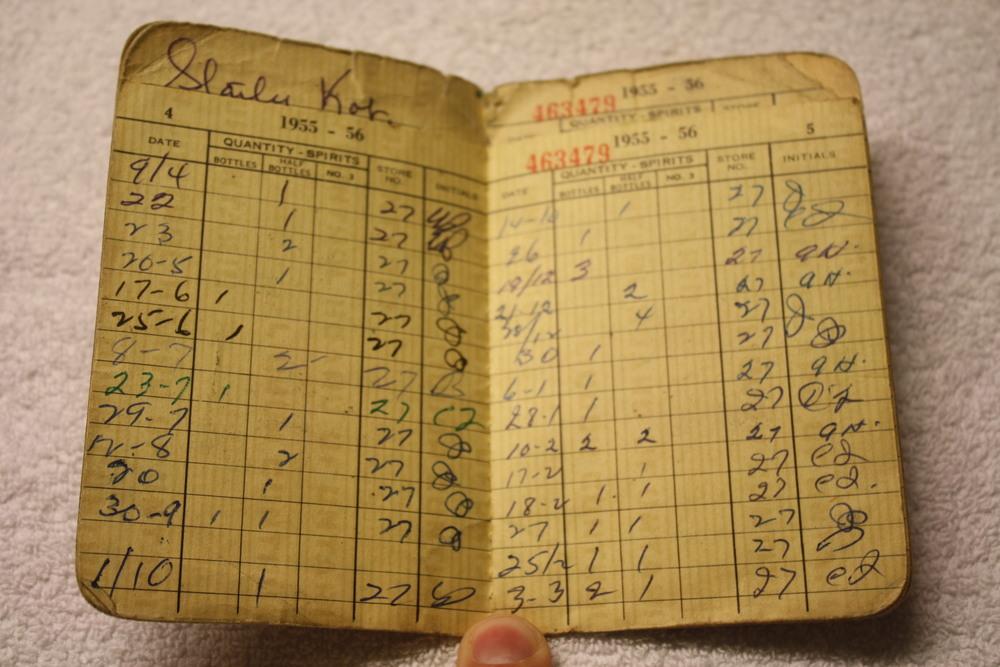 LCBO Liquor Permit Book_1955-1956_purchases