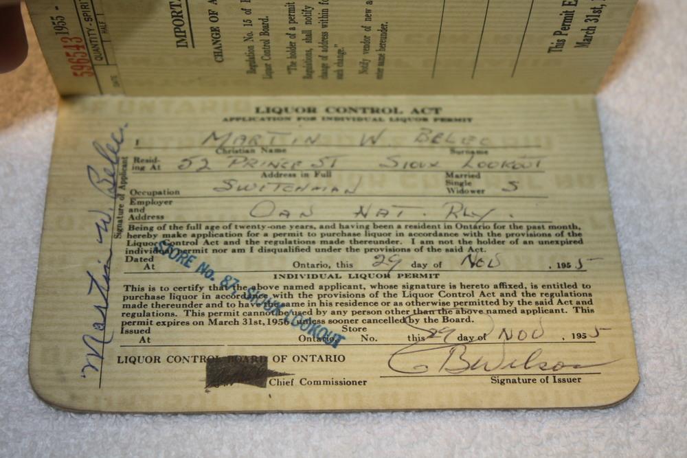 LCBO Liquor Permit Book_1955-1956_Belec_Personal Info