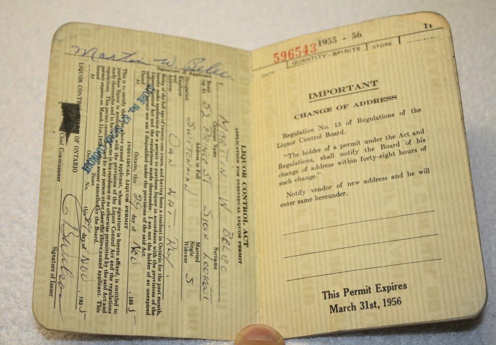 LCBO Liquor Permit Book_1955-1956_Belec_Inside