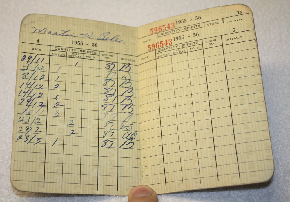 LCBO Liquor Permit Book_1955-1956_Belec_Purchases