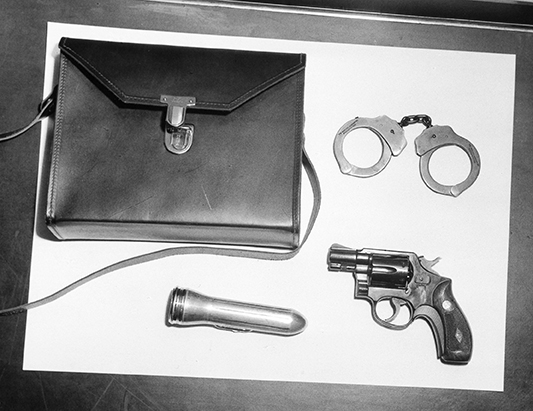 Specially designed handbag for the policewoman uniform, 1955. Photo courtesy of Helen Karas and the Seattle Police Department.