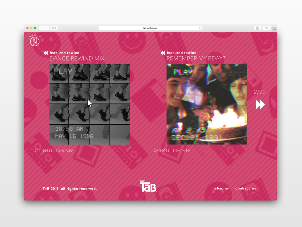 TaB Tumblr site showcases Rewind app content.