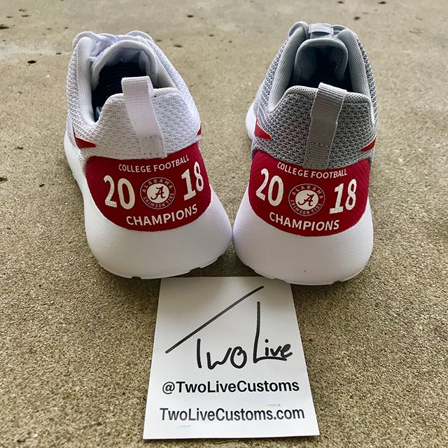 """ALABAMA FANS! You just won the National Championship! Celebrate with some of our championship shoes or one of our many other options! All available via the link in our bio and use promo code """"TWOLIVE"""" to save $15 on your order!"""