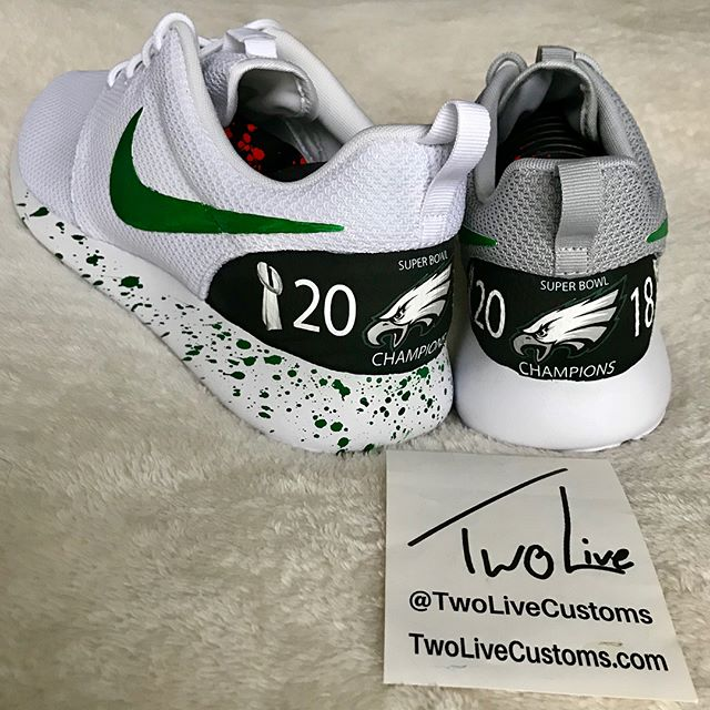 """EAGLES FANS! You just won the SUPER BOWL! Celebrate with some of our championship shoes or one of our many other options! All available via the link in our bio and use promo code """"TWOLIVE"""" to save $15 on your order!"""