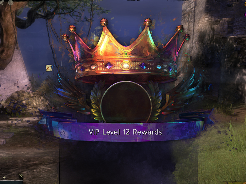 Illustrative crown, award container, and ribbon created for VIP level rewards for use in the Chinese version of the game.