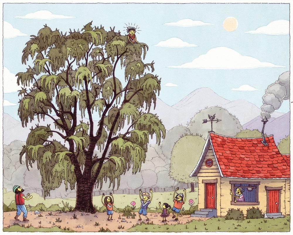 Graham's Up The Tree Illustration