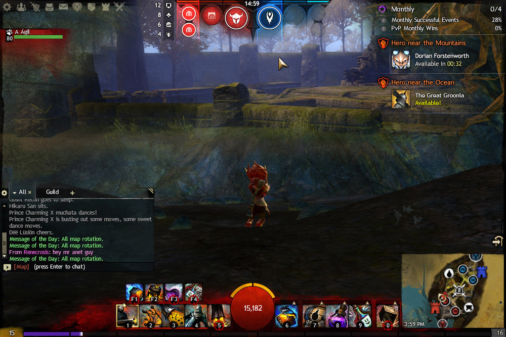 Stronghold UI Design (top center) with Hero Availability Notification (upper right)