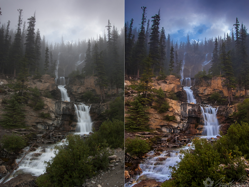 The image on the right is the result of processing the RAW image on the left in Photoshop.
