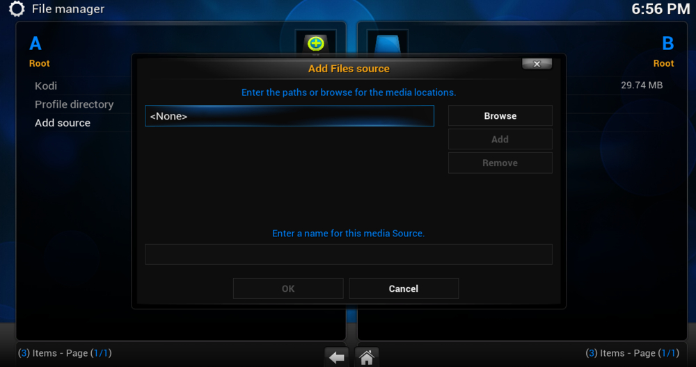 IN THE TOP BOX WRITE THIS EXACTLY in lower case http://i.totalxbmc.tv in the lower box write .total THEN CLICK OK