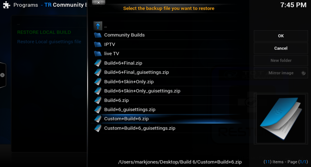 Now click on custom build 6 zip (ignore the others in my file you wont have these they are test builds