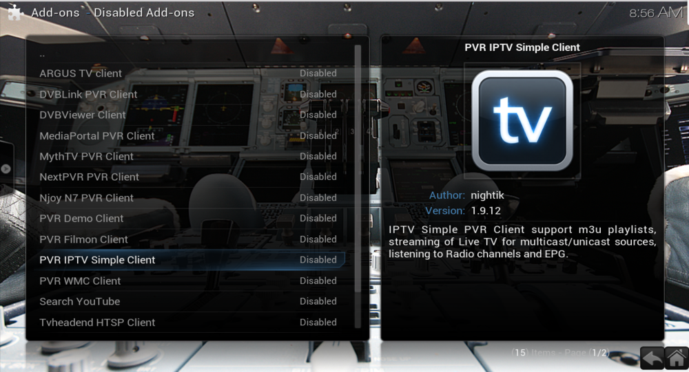 Go to pvr iptv simple client and enable it. if it doesn't appear in the list then find it in enabled add ons pvr clients