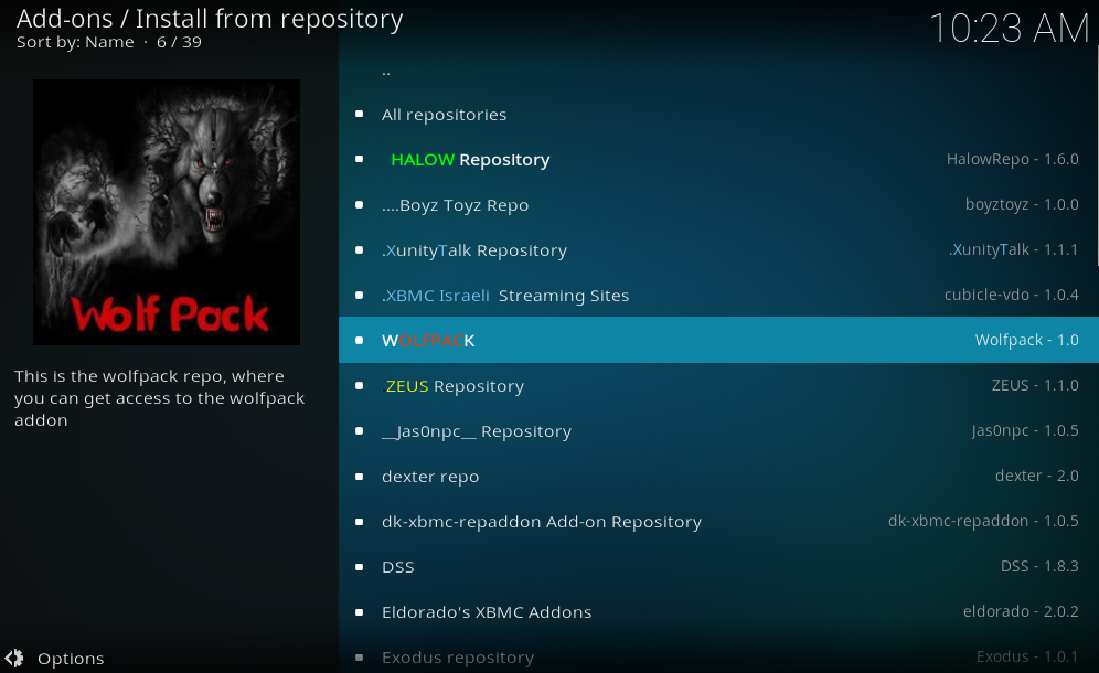 find and click on wolf pack repo
