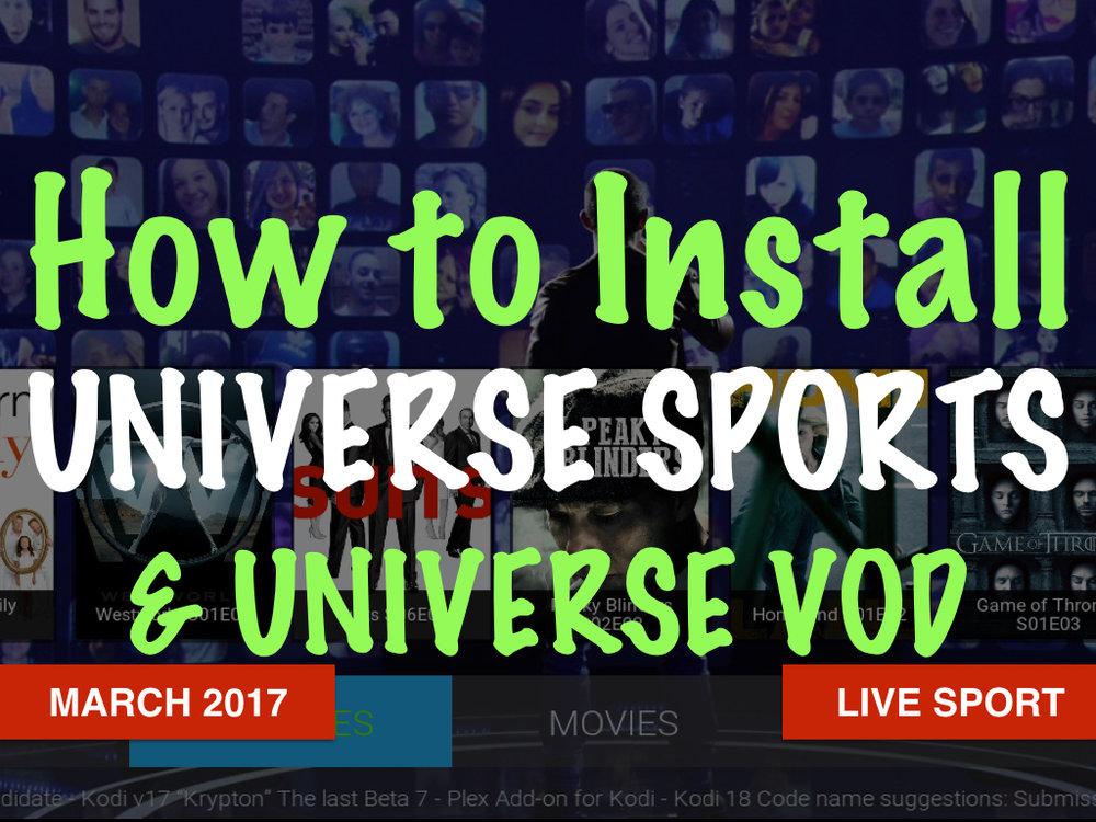 Universe Sports Kodi Add On