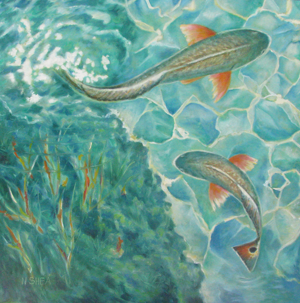 One fish, two fish, red fish....     riginal oil painting