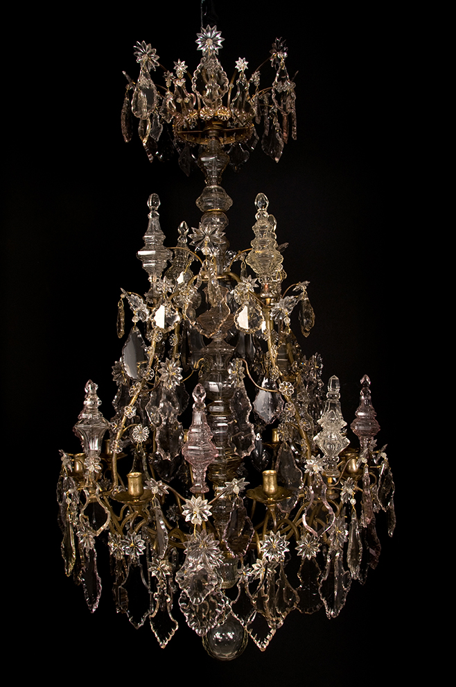18th century louis xv period bronze and glass 8 light chandelier dsc4630g aloadofball Gallery