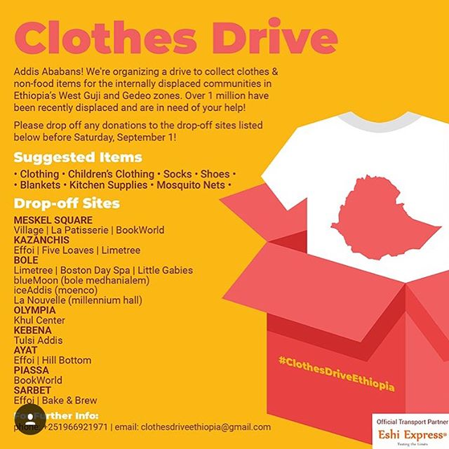 We are in full support of this amazing initiative. If you have any spare clothes then do drop them off at our space or any of the other locations listed on the poster.  #addisababa #ethiopia #clothesdrive #Guji #Gedeo