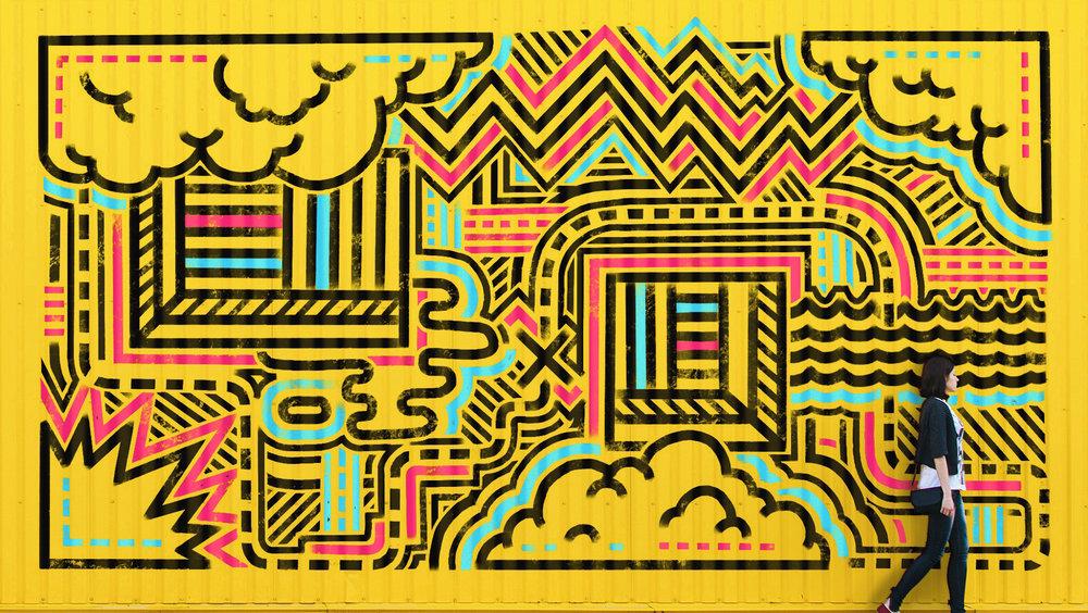 Concept • Corrugated mural