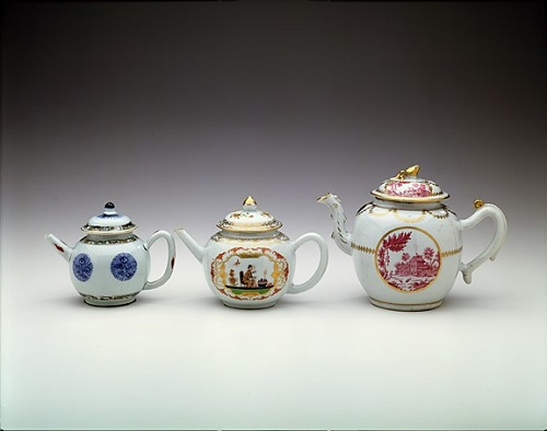 Three Chinese export teapots from the 18th century. They range from early on the left to late on the right. Though they are not a set in the traditional sense of the work, they fulfill my objective, which it to show how style changes over time.