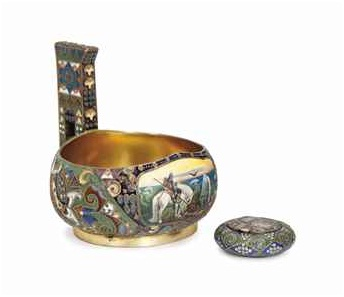 An example of an art piece that meets the new criteria for the increased buyer's premium. Before the enhanced pricing, the buyer's premium was 20% — now it is 25%. From  Christies.com : A FABERGE-STYLE SILVER GILT AND ENAMEL KOVSH, AND A PILL BOX,20TH CENTURY, sold for $52,500 at Sale 2721 Interiors 23-24 July 2013 New York, Rockefeller Plaza