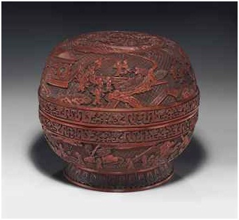 The large carved red lacquer globular box and cover that I sent to Auction. Ming Dynasty, late 16th/17th century. Courtesy Christies  .