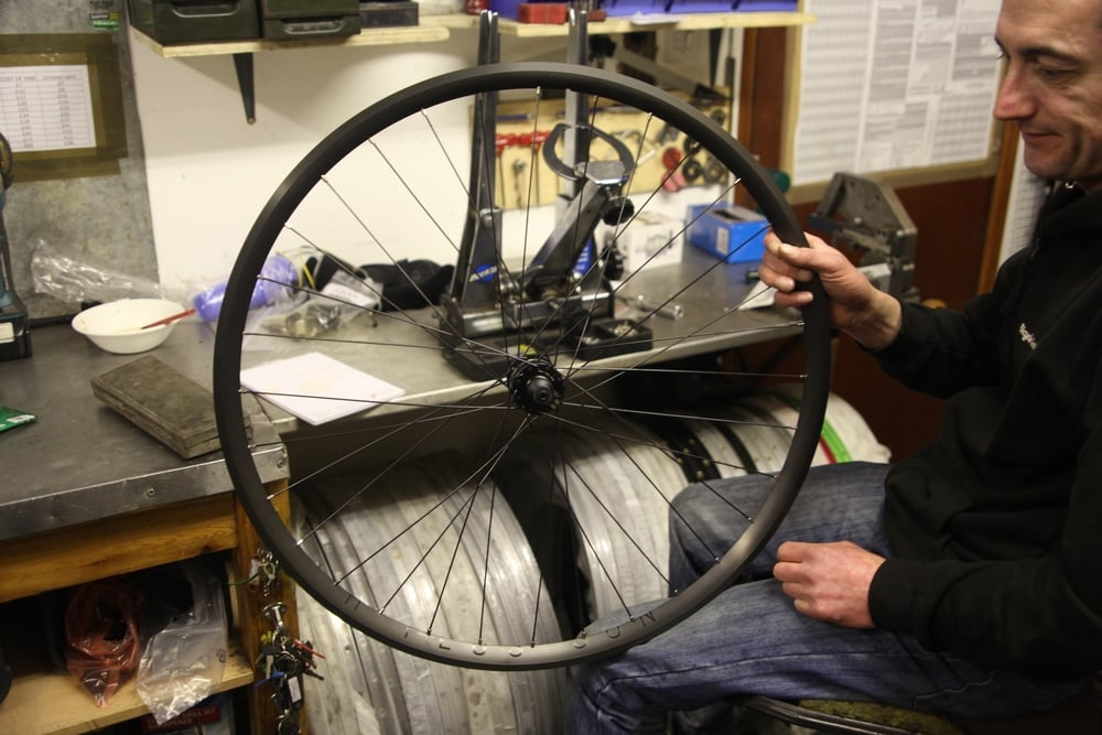 Andy Kelly building me my fantastic wheels, January 2016