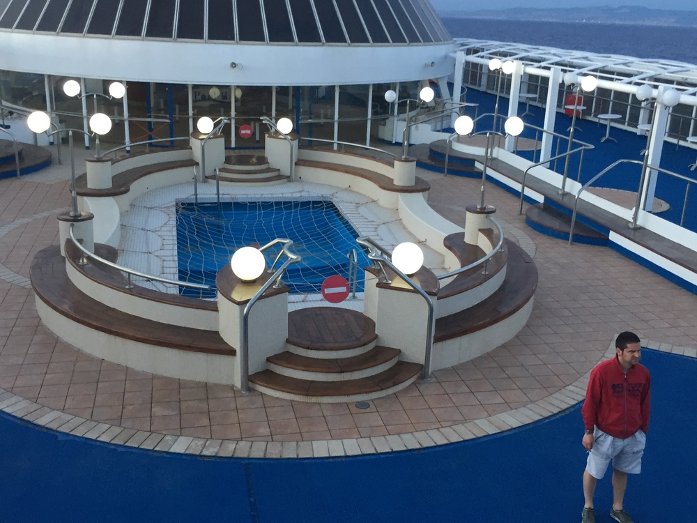 Empty pool on the boat