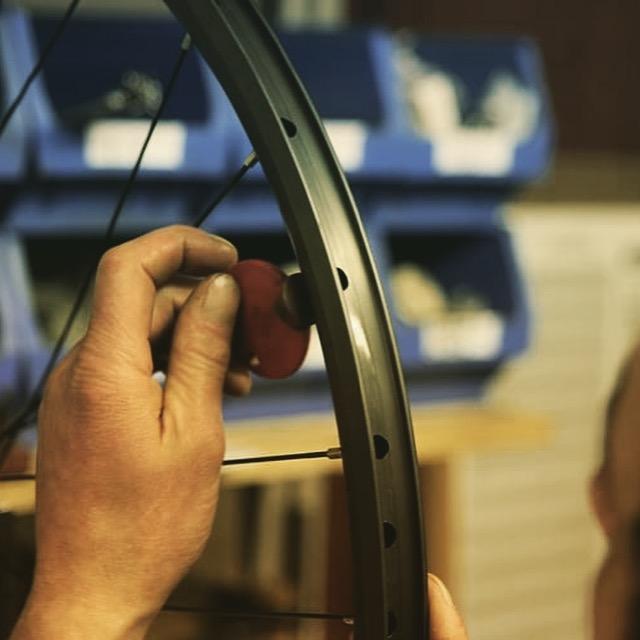 Andy Kelly at Bicycle Ambulance building my wheels