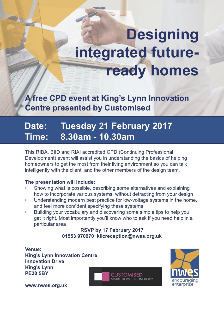 A free CPD event at King's Lynn Innovation Centre presented by Customised