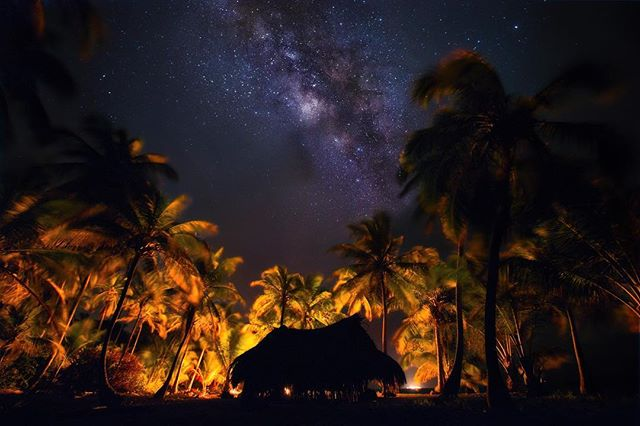 Beautiful night on a beautiful island! Amazing photo! @bennettfilm #island #snorkeling #vacation #beach #palmtrees