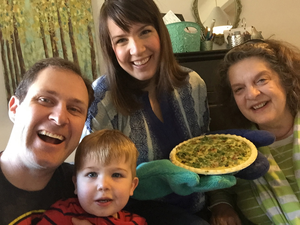 You can also just make quiche for your family.  They will smile.  Like mine is doing here.  Celebrating Pi Day this week, 3/14/15 at 9:26 am!