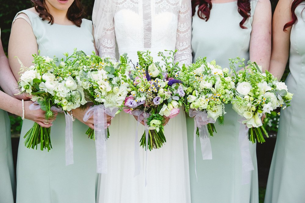 Gaynes Park Wedding Bridal Party Spring Bouquets