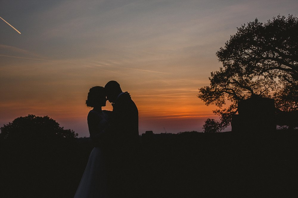 Gaynes Park Wedding Photographer - Sunset Silhouette Portrait