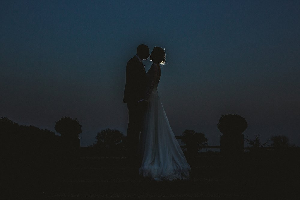 Gaynes Park Wedding Photographer - Evening Couple Portrait in the gardens