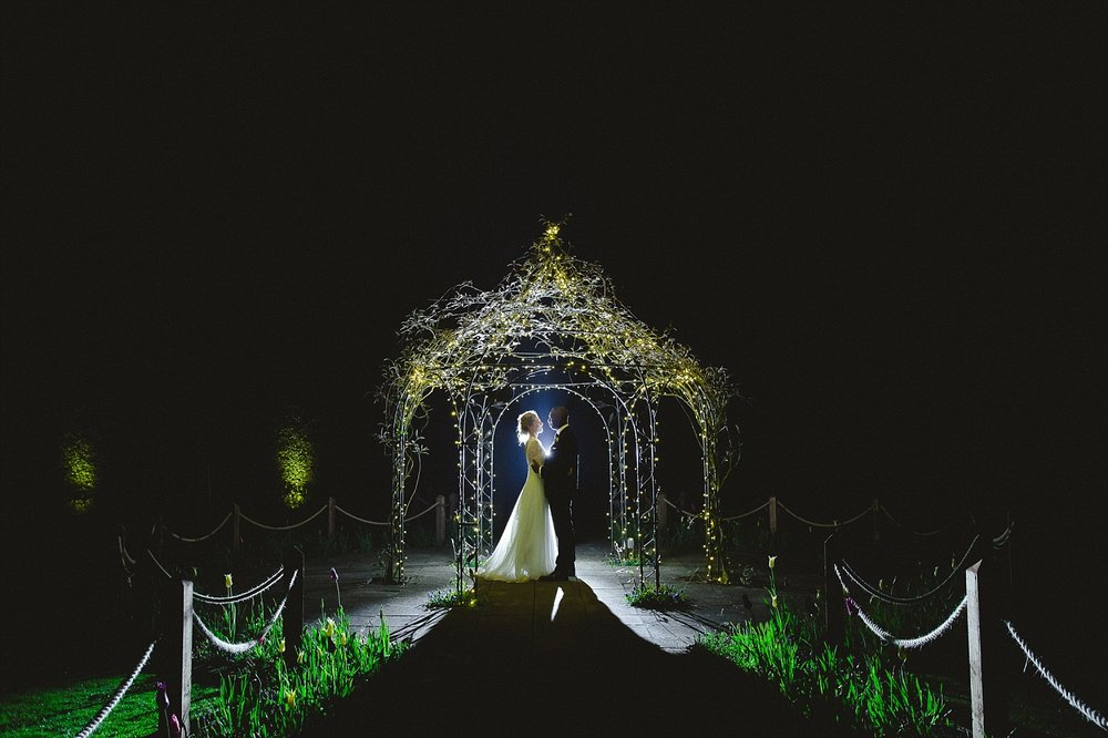 Gaynes Park Wedding Photographer - Portrait at Night in the Gardens