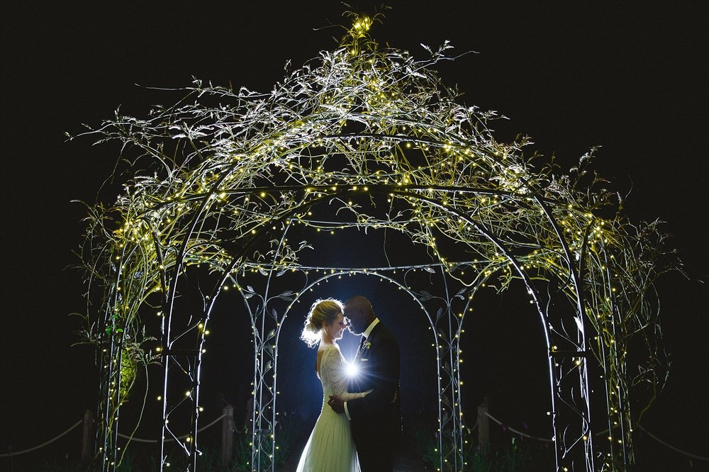 Gaynes Park Wedding Photographer - Portrait in the Gardens at Night