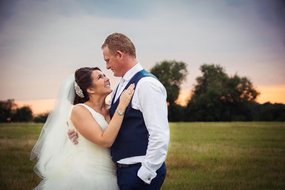 Old Brook Barn Wedding at sunset